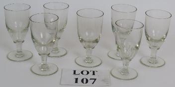 Seven Early 19th Century short stem wine