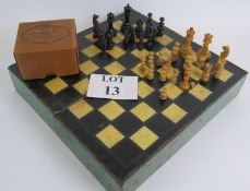 A scratch made vintage chess board box a