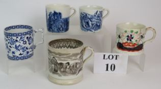 Five 19th Century mugs, four being trans
