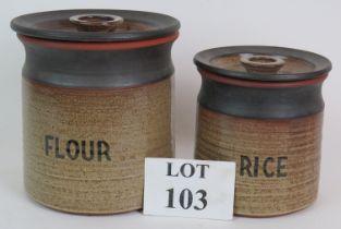 Two Retro studio pottery lidded storage