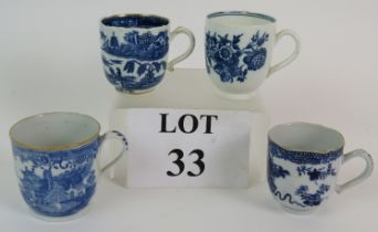 Four late 18th Century English porcelain