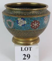 An antique Chinese brass champleve ename