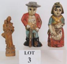 A pair of antique South American folk ar