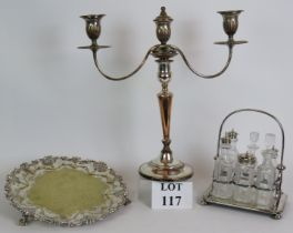 An antique silver plated salver with aca