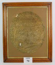 An oval Georgian silk map needlework sam