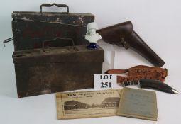 Two steel WW2 ammunition boxes one dated 1940, a Kukri knife, shotgun cartridge belt,