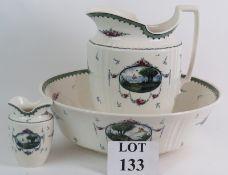 An Edwardian Mintons porcelain Neva pattern, three piece toilet set consisting of jug,