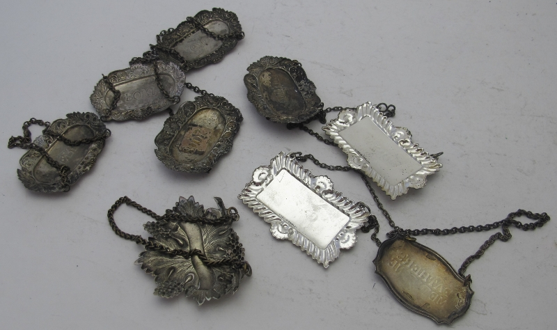 A collection of nine plated decanter labels to include a set of five 'Sherry', 'Port', 'Gin', - Image 6 of 6