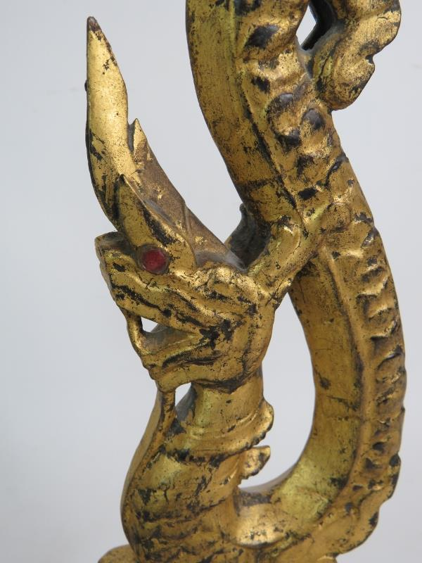 A decorative pair of Thai carved wooden naga or dragon finials with gilt finish and mounted on - Image 8 of 8