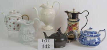 Six various tea pots and jugs including Wedgwood, Spode Italian, Portmeirion and Carlton ware.