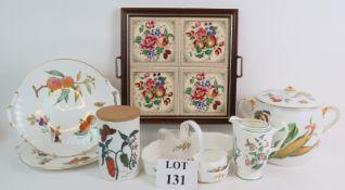 A ceramic tile tea tray, a Royal Aynsley Cottage Garden strawberry set,