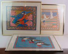 Tass Bell (1980's) - three pencil signed limited edition serigraphs, framed.