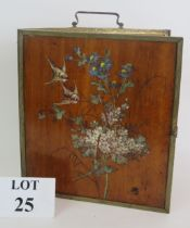 An early 20th Century mahogany triptych picture/mirror frame with hand painted bird and flower