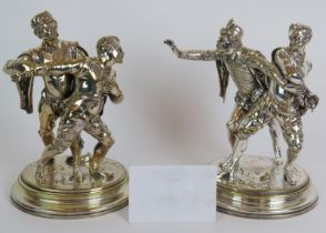 A pair of 19th Century silver plated brass statues signed Emile Guillemin titled 'The Bar Fight'.