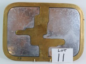 A rare David Marshall Disenos Spanish Brutalist brass and aluminium tray or table mat with leather