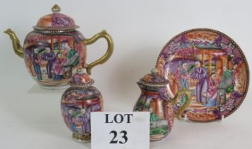 A four piece antique Chinese porcelain tea set, late 18th/early 19th Century with Mandarin