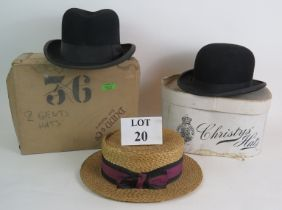 Three vintage gentleman's hats including a bowler hat, homburg and straw boater plus two vintage hat