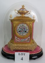 A 19th Century Louis XVIII style porcelain and Ormulu striking mantel clock by J&W Mitchell of