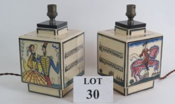 A pair of Art Deco pottery lamps by Robert. T. Lallemant C1930. Decorated with modernist hand