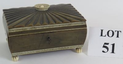 A small 19th Century Indian horn and bone workbox with lift out compartment tray, 18cm x 12.5cm (