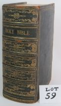 A very large Victorian family devotional Bible dated 1852 with references by Rev Matthew Henry.