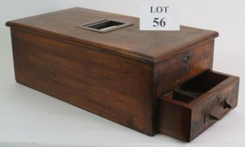 An early 20th Century mahogany shop till with divided cash drawer, till roll feed and working bell