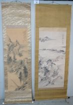 Two hand painted Chinese silk scrolls each depicting traditional landscapes, both signed. One boxed.