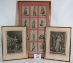 A set of 12 framed and mounted 18th Century Bernard Picart engravings of costumes of The world