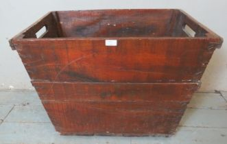 A large rustic stained pine dough bin. 53cm high x 75cm wide x 30cm deep (approx).