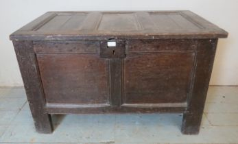 An 18th century oak coffer of small proportions carved with the initials 'T'S', raised on style