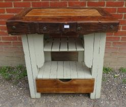 A vintage oak butcher's block with under tier shelves and drawer to base. 53cm high x 90cm wide x