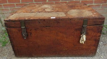 A 19th century oak campaign chest with iron hasp & staple latches and handles either side. 47cm high