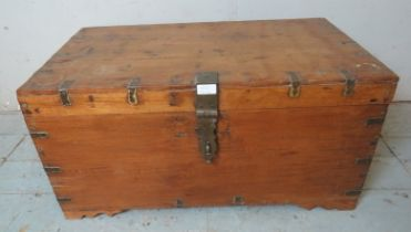 An antique chamfer wood brass bound dowry chest with an array of internal compartments. 41cm high