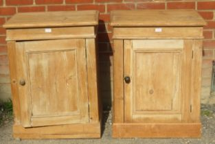 A near pair of antique stripped pine side cabinets, both with fitted internal shelf.