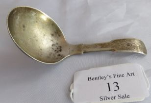 A Georgian silver caddy spoon, Birmingham 1829. Weight 16 grams, measures 3.5 inches long, app
