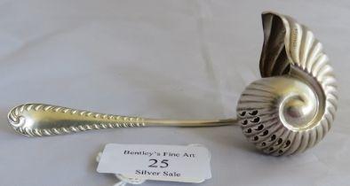 An unusual Edwardian shell shaped sugar sifter spoon. Birmingham 1903, maker George Bowen & Sons.
