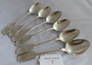 6 fiddle pattern Exeter silver teaspoons. 5 marked Exeter 1844, maker Robert Williams and 1 Exeter