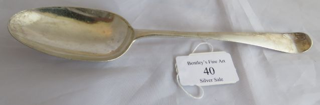 A silver C18th Hanoverian pattern tablespoon. London, date letter rubbed, maker George Smith II,