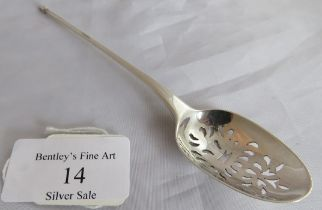 An C18th silver mote spoon, marked only with lion passant, maker T D probably Thomas Dene. Weight 13
