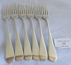 A set of 6 silver C18th dessert forks, London 1783, maker George Smith III. Total weight 235