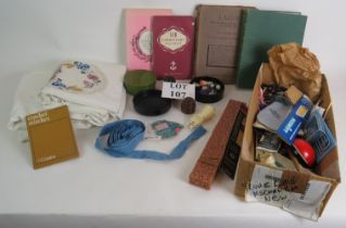 A quantity of vintage knitting and needlework accessories and books including 'Lacis' pub 1909. (