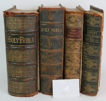 Two large 19th Century leather bound family bibles, a leather bound copy of Bunyan's Pilgrims