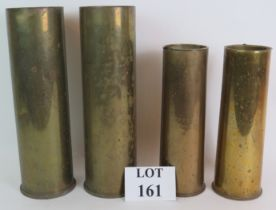 A pair of WWI British trench art shell cases, one engraved Ypres 26th April 1916, one engraved Neuve