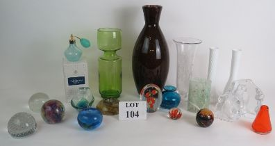 A collection of mainly studio glass and paperweights including Caithness, Mdina, Thomas Webb and