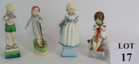 Four Royal Worcester porcelain figurines by Freda Doughty, Monday's Child, Thursday's Child,