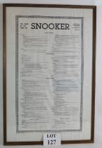 A framed set of vintage world snooker rules dated 1st December 1983, 79cm x 53cm. Condition