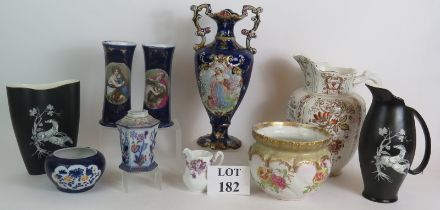 Two Crown Devon Pegasus design vases, an Edwardian toilet jug, Bridgwood jardinière and some items