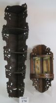 Two sets of antique corner shelves, one with scroll carved sides and shelves, the other with inset