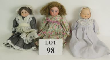 An Armand Marseille Bisque headed doll number 1894 5/0 with jointed arms and legs and wig by Mary