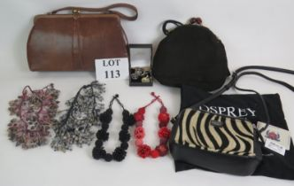 Four beaded necklaces, a box of jewellery, two vintage handbags and an Osprey zebra style pony